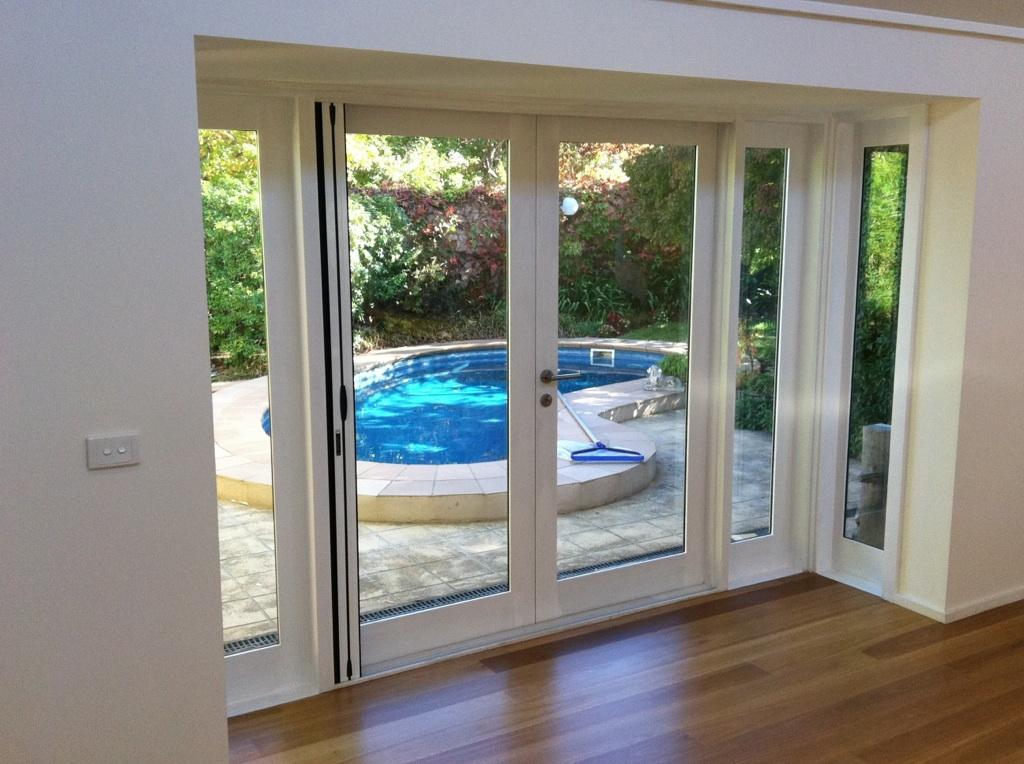 French Doors with Fixed Door Sidelights and Brio Retractable Screen