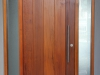 Vertical Plank Door 64mm with Triple Glazed Rice Paper Sidelights - Exterior View