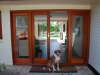 French Doors with Fixed Door Sidelights and Beautiful Dog